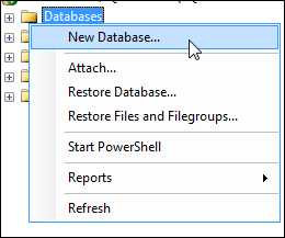 Create New Database Command